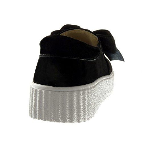 Negro cuña de mujer de Plataforma on 3 Zapatillas Arcos Angkorly Plataforma de moda de 5 Zapatos cm Slip para deporte H6Owfwq