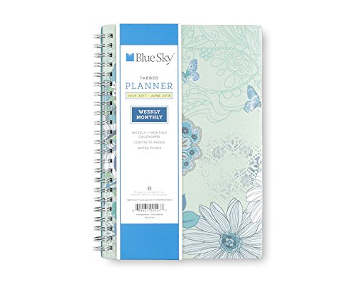 "Blue Sky 2017-2018 Academic Year Weekly & Monthly Planner, Twin-Wire Bound, 5"" x 8"", Lianne Aqua"