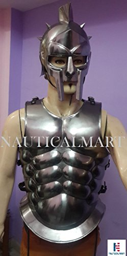 Gladiator Costume Maximus (Gladiator Roman Maximus Style Helmet Armor W/ Spikes+ Muscle Jacket Greek Costume By Nauticalmart)