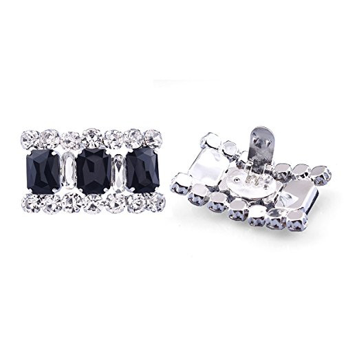 (Stuffwholesale Shining Rectangular Black Stone Shoes Clip Women's High Heel Shoe Buckle Decoration (style#14))