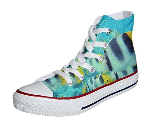 Converse Customized Chaussures Personnalisé et imprimés UNISEX (produit artisanal) poissons colorés - size EU44