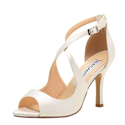 - ElegantPark HP1820 Women Peep Toe High Heel Bridal Wedding Sandals Cross Strappy Satin Prom Dress Shoes Ivory US 7