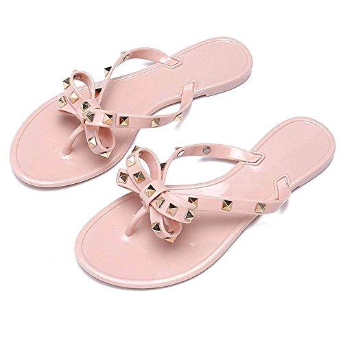 Utop Women's Rivets Bowtie Flip Flops Jelly Thong Sandal Rubber Flat Slipper Summer Beach Rain Shoes Womens Gold Rivet Studded Bow Jelly Thong Flip Flop Sandals (US6.5=EU38=24CM, (Jelly Thong)