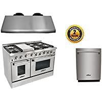 Thor Kitchen 48 6 Burner Gas Range,1200CFM Range Hood+24 Built-in Dishwasher