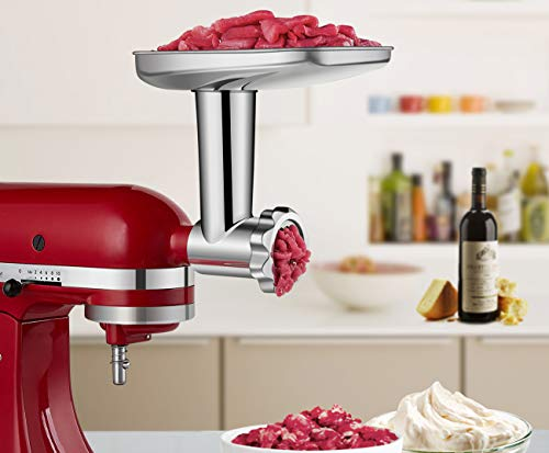 Food Grinder Attachment work with KitchenAid Stand Mixers Including Sausage Stuffer, All Stainless Steel,Dishwasher Safe, Durable Mixer Accessories as Meat Processor by GVODE (Image #3)