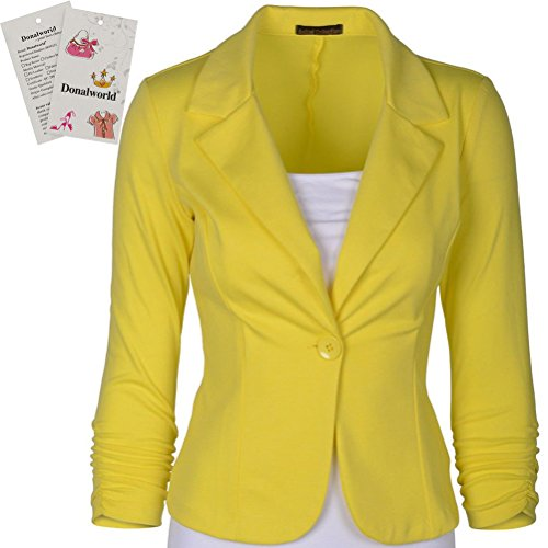 Donalworld+Womens+Slim+Blazer+Jacket+Suit+Work+Casual+Basic+Button+Coat+Yl+Tag+L