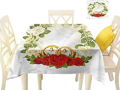 (Davishouse Decorative Textured Fabric Tablecloth Roses Wedding Rings Great for Buffet Table W70 x L70 )