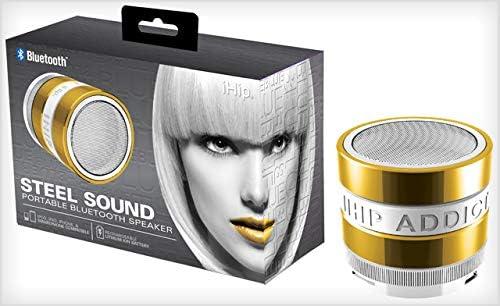 Gold IHIP Steel Sound Portable Bluetooth Speaker