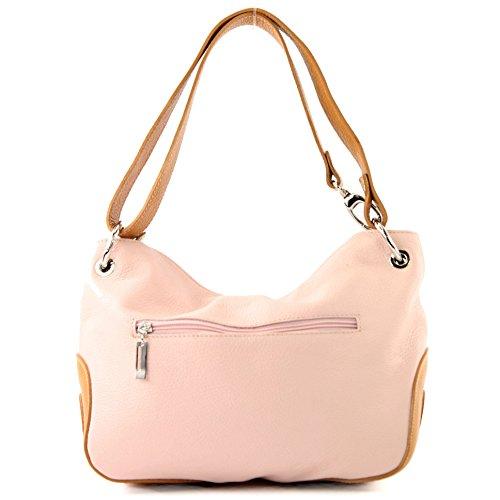 Modamoda deT10 - Bolso de piel italiana para mujer, tamaño mediano Rosa/Camel