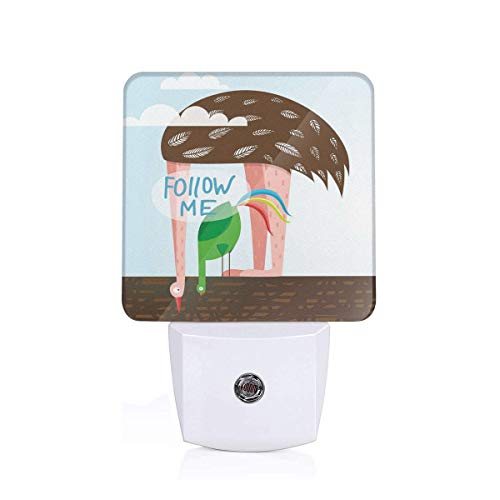 Colorful Plug in Night,Ostrich and Rooster Eating On Roof Birds with Long Necks and Follow Me Label,Auto Sensor LED Dusk to Dawn Night Light Plug in Indoor for Childs Adults