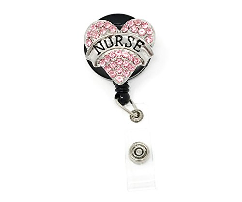 Pink Nurse Pink Heart Rhinestone Retractable Badge Reel/ ID Badge Holder / Brooch / Pendant / Id Badge Holder