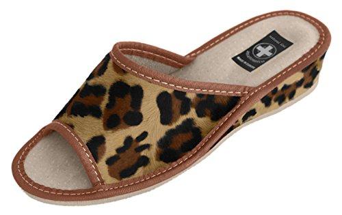 Natural Line - Zapatillas de estar por casa de Piel para mujer Brown Panther