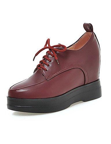 ZQ hug Zapatos de mujer - Tacón Cuña - Cuñas / Plataforma - Tacones - Casual - Semicuero - Negro / Rojo / Beige , red-us8 / eu39 / uk6 / cn39 , red-us8 / eu39 / uk6 / cn39 black-us8 / eu39 / uk6 / cn39