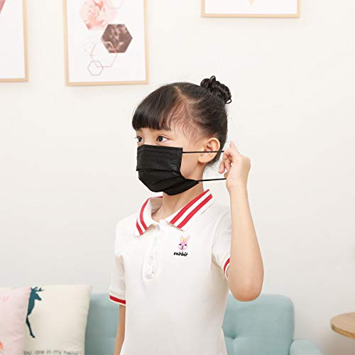 DIOLV Disposable Kids Face Mask 3 Layer Filtration, Boys Breathable Protection Facemask Safety Dust Filter Girls Protective Facial Masks for Indoor Outdoor 50Pcs/Pack, Earloop Black