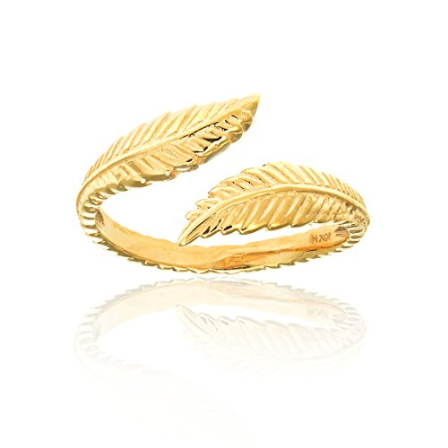10k Solid Yellow Gold Leaf Cross Over Adjustable Ring or Toe Ring (Solid Leaf Gold)