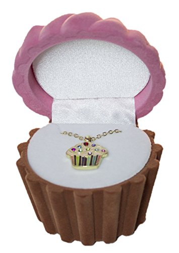 DM Merchandising Cupcake Cuties Enamel Pendant Necklace in Figural Gift Box (Sold Individually) (Pink)