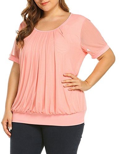IN'VOLAND Women's Plus Size Short Sleeve Blouses Tunic Tops Shirt Scoop Neck Pleated Front Fitted