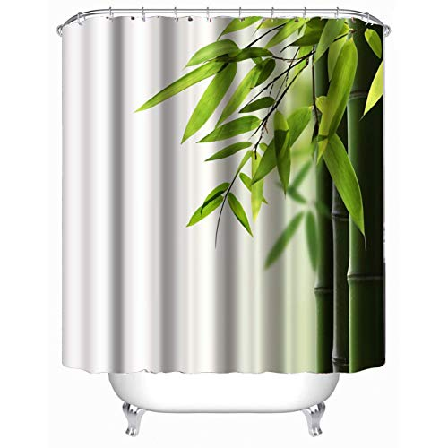 Dodou 72x72 inch Green Bamboo Printed Shower Curtain Fabric Waterproof Mouldproof anti Bacteria Shower Curtain