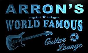 pf744-b Arron's Guitar Lounge Beer Bar Pub Room Neon Light Sign