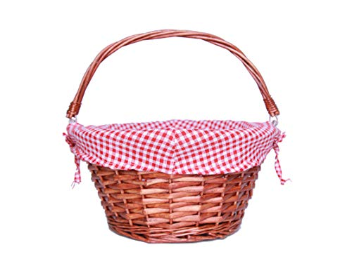 (OYPEIP(TM)Easter Basket Gift Basket Traditional Fashion Basket Kids Gift Basket Woven Willow Round Wicker Storage Basket With One Drop Down Handle Fabric Cotton Linen For Office, Bedroom, Closet, Toys)