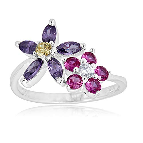 - 925 Sterling Silver Adjustable Bypass Flower Toe Ring with Pink and Purple Simulated Diamond CZ