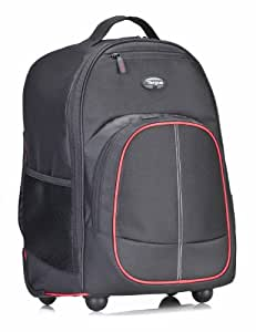 Targus Compact Rolling Backpack for Laptops up to 16-Inch/MacBook Pros up to 17-Inch, Black/Red (TSB75001US)