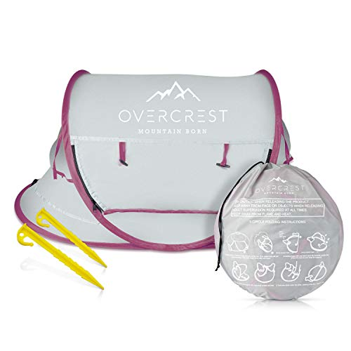 Overcrest Portable Beach Pop up Tent Babies, UPF 50+, Large Sun Shelter Infant Babies, Mosquito Net Sunshade, Lightweight Outdoor Travel Baby Crib Bed (Mauve) from Overcrest