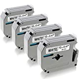 12Mm Label Printer - MK231 MK-231 M231 Compatible Brother m-k231 Tape 12mm 0.47 White P-Touch M Tape Black on White 12mm x 8m for Brother Label Maker Ptouch PT 80 90 65 M95 Tape Cassettes, 4 Pack