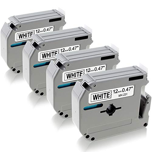 (MK231 MK-231 M231 Compatible Brother m-k231 Tape 12mm 0.47 White P-Touch M Tape Black on White 12mm x 8m for Brother Label Maker Ptouch PT 80 90 65 M95 Tape Cassettes, 4 Pack)