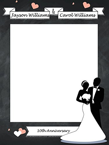 Custom Wedding anniversary Chalk Board Photo Booth Frame - Sizes 36x24, 48x36; Personalized Anniversary, Couple Selfie Frame Wedding Decorations, Handmade Party Supply Photo Booth Props