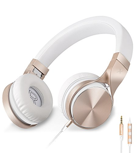 Headphones,Riwbox IN-5 Headphones with Microphone and Volume Control Folding Lightweight Headset for iphone Cellphones Tablets (White ()