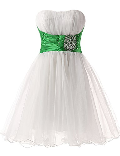 (Sarahbridal Women's Sparkly Beaded Homecoming Dresses Sequined Prom Gowns Short White and Green US4)