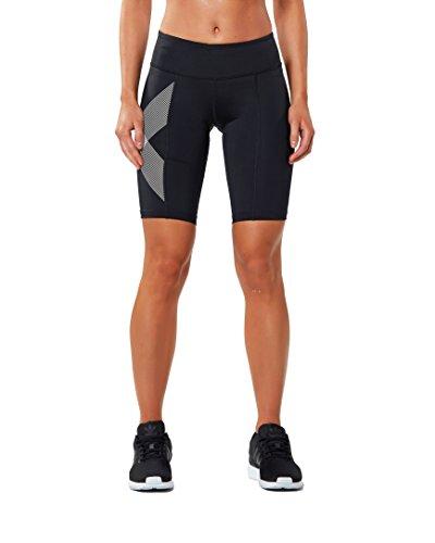 2XU Women's Mid-Rise Compression Shorts, Black/Striped White, X-Small by 2XU (Image #1)