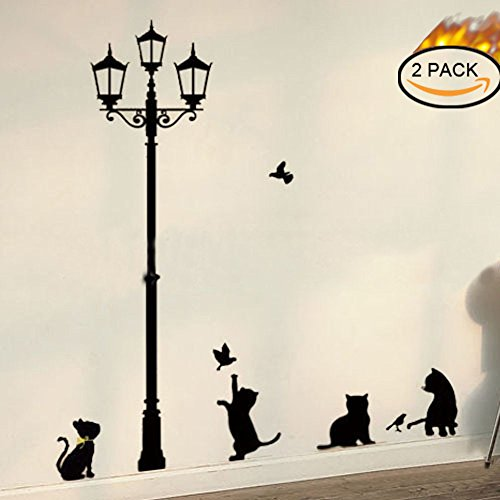 2 PACK Black Cat under Street Lamp Design Picture Art Peel & Stick Wall Sticker DIY Vinyl Wall Decal
