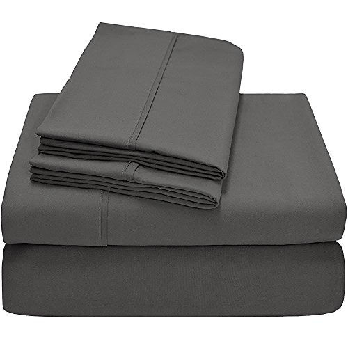 - Bhoomi Impex Elegant Bedding 5 PCs Duvet set (1 Dover Cover & 4 Pillowcase) 400 Thread Count 100% Cotton Stain Resistant, Durable And Easy To Use (Full Size, Dark Grey Solid)