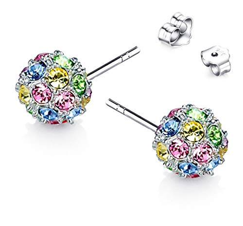 Colored Multi Beautiful (Beautiful Crafted Multicolored Unique Ball Shaped 18k White/rose Gold Plated Swarovski Crystal Zircon Austria Rhinestone Earrings Pierced Eardrop Stud Bridal Wedding Engagement Jewelry E203(b))