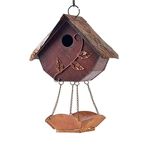 Glitzhome Rustic Wooden Decorative Bird House with Bird Feeder Garden Decor 12.91