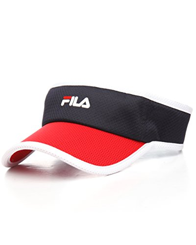 FILA Unisex Heritage Mesh Velcro Strap Adjustable Visor (Navy/Red/White) (Navy Adjustable Visor)