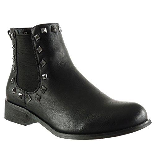 Angkorly Damen Schuhe Stiefeletten - Chelsea Boots - Reitstiefel - Kavalier - Vintage-Stil - Nieten - Besetzt Blockabsatz High Heel 3.5 cm Schwarz