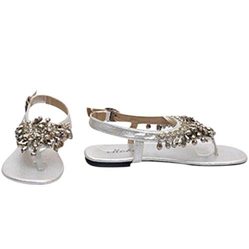 Sandales Une Avec Argent Clode® Strass Cristal Paire Plates Chaussures Bohème En Pendentif Des Px1wq