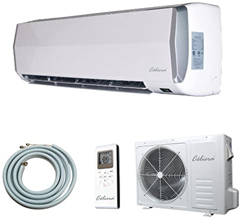 Celiera 18000 BTU Ductless Mini Split Air Conditioner + Heat Pump - Indoor and Outdoor Units + Line Set + Installation Kit) - 220V 60Hz Single Phase
