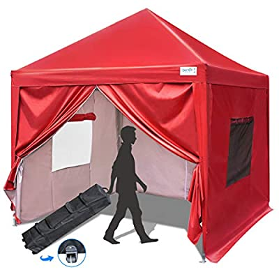 Quictent Privacy 8x8 EZ Pop Up Canopy Tent with Sidewalls and Mesh Windows Waterproof -8 Colors