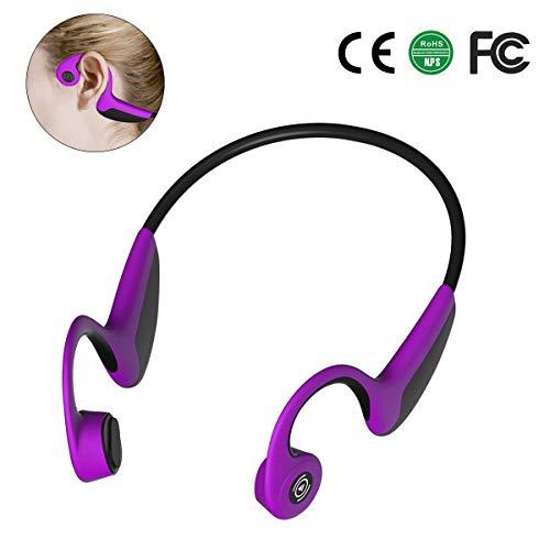 ZFKJERS Bone Conduction Headphones, Wireless Bluetooth 5.0 HD Stereo Open Ear Waterproof Sport Headset with Microphone for Running Driving Cycling (Purple)
