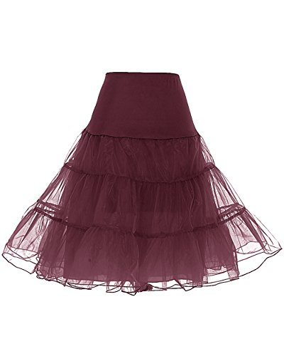 Dresstells Women's Vintage Rockabilly Petticoat Skirt Tutu 1950s Underskirt Burgundy XL