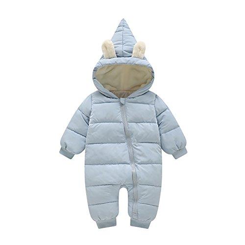 Evey & Jaxten Unisex Baby Winter Bunny Warm Down Puffer Romper Jumpsuit Snowsuit Pram Bunting (Light Blue, 12-18M (Infant Down Bunting)