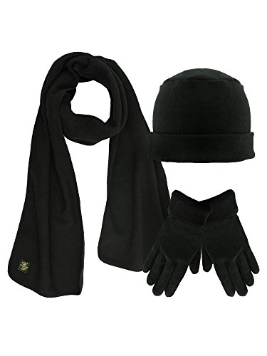 (Black 3 Piece Fleece Hat Scarf & Glove Matching Set )