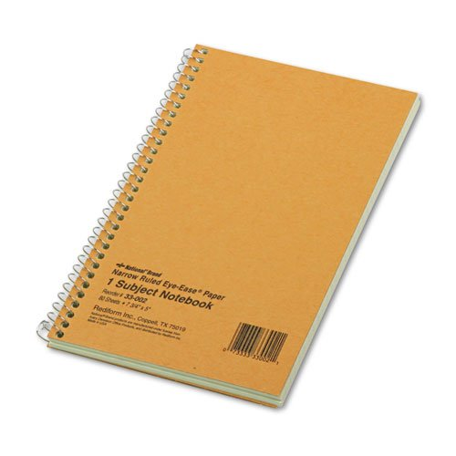 - Subject Wirebound Notebook, Narrow Rule, 5 x 7-3/4, Green, 80 Sheets, Sold as 1 Each