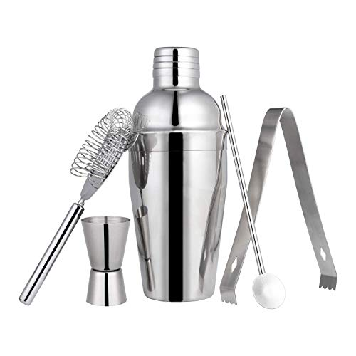 Zeonetak 24oz Cocktail Shaker Set,Bartender Kit for An Wonderful Drink Mixing Experience at Home Bar,Stainless Steel Bar Tool Set with Shaker Tin,Jigger,Mixing Spoon,Ice Tong,Hawthorne Strainer, 5-PCS