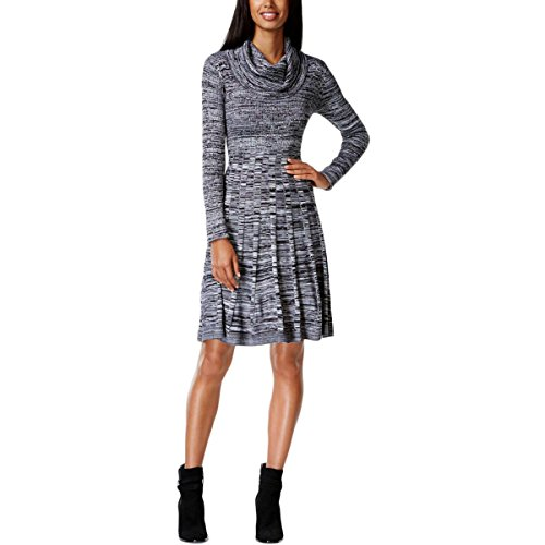Calvin Klein Women's Long Sleeve Cowl Neck Printed Fit and Flare Sweater Dress, Black/White, (Calvin Klein Pleated Neckline Dress)