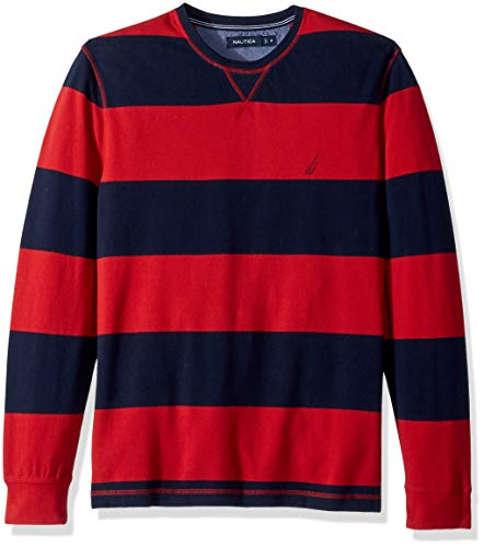 Nautica Men's Crew Neck Striped Long Sleeve Shirt, Rescue red, ()
